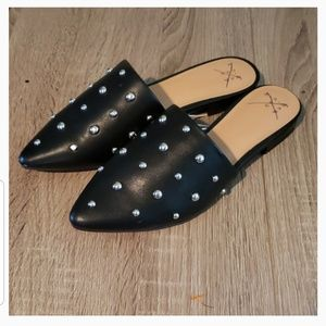 **2 for $14** Womens Black Studded Mules